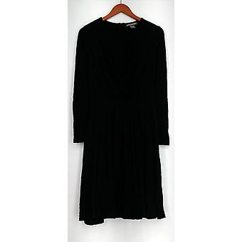 Kate & Mallory Dress Long Sleeve V-Neck with Gather Front Black A430988