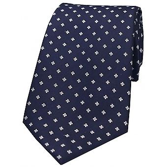 David Van Hagen piccoli fiori poliestere cravatta - Navy