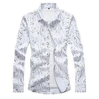 Allthemen Men's Otoño Nuevo Estilo Camisa Algodón Big Size Camisa de Mangas Largas