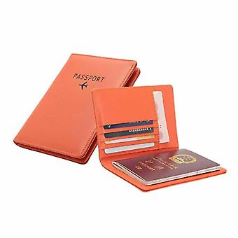 Passport holder in PU leather, Orange