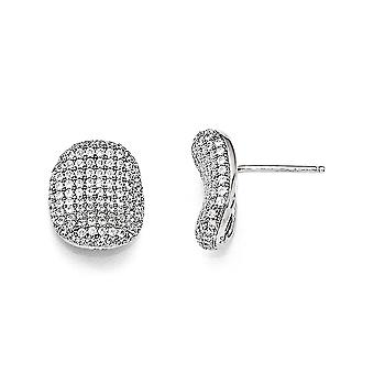 925 Sterling Silver Pave Rhodium plated and CZ Cubic Zirconia Simulated Diamond Polished Post Earrings Jewelry Gifts for