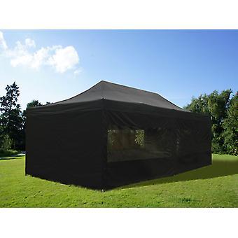 Faltzelt FleXtents PRO 4x8m Schwarz, mit 6 Seitenwänden