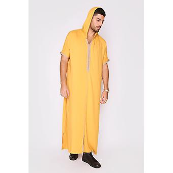Gandoura vanity men's hooded short sleeve full-length robe thobe in mustard