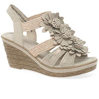 Marco Tozzi Pozzo Womens Floral Wedge Heel Sandals