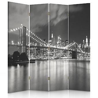 Divisor de quarto, 4 painéis, duplo-face, lona, ponte de Brooklyn na noite