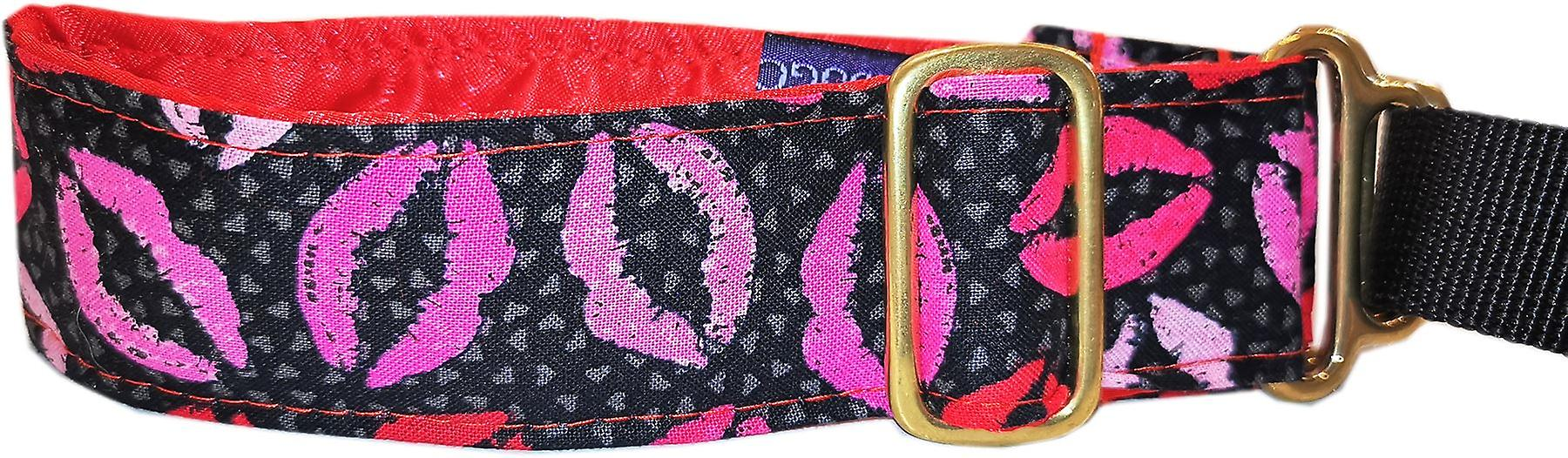 Dogcrafts Martingale 40-25mm Drop Lips Kiss Fabric with Satin Lining Brass
