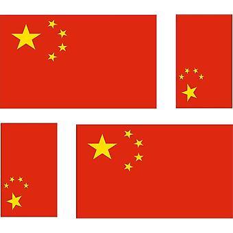 4 x Aufkleber Aufkleber Auto Motorrad chinesische Flagge China
