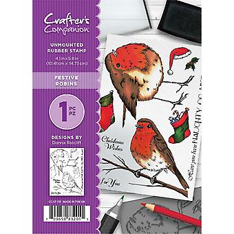 Crafter's Companion A6 Rubber Stamp Set - Festive Robins