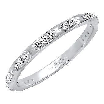 Dazzlingrock Collection 0,20 Carat (CTW) 10K runde diamant damer bryllup band 1/5 CT, hvid guld
