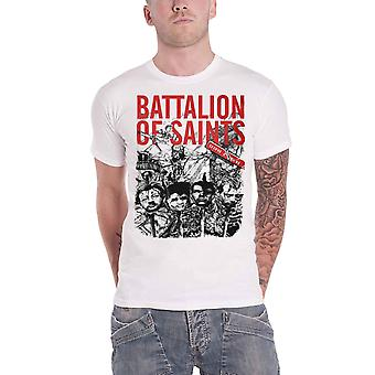 Battalion Of Saints T Shirt Head Spikes Band Logo new Official Mens White