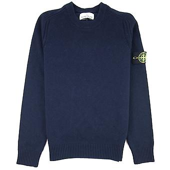 Stone Island 552A3 Knitted Wool Sweater Navy V0020