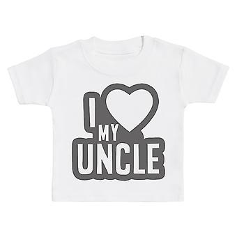 أنا أحب عمي الأسود الخطوط العريضة الطفل تي شيرت