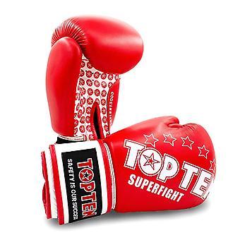 Top Ten superpelea guantes de boxeo rojo