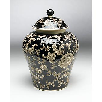 AA Importing 59735 14 Inch Black & Cream Ginger Jar