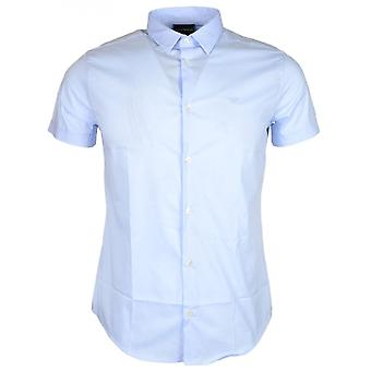 Emporio Armani 8n1c10 Cotton Stitched Logo Short Sleeve Sky Blue Shirt