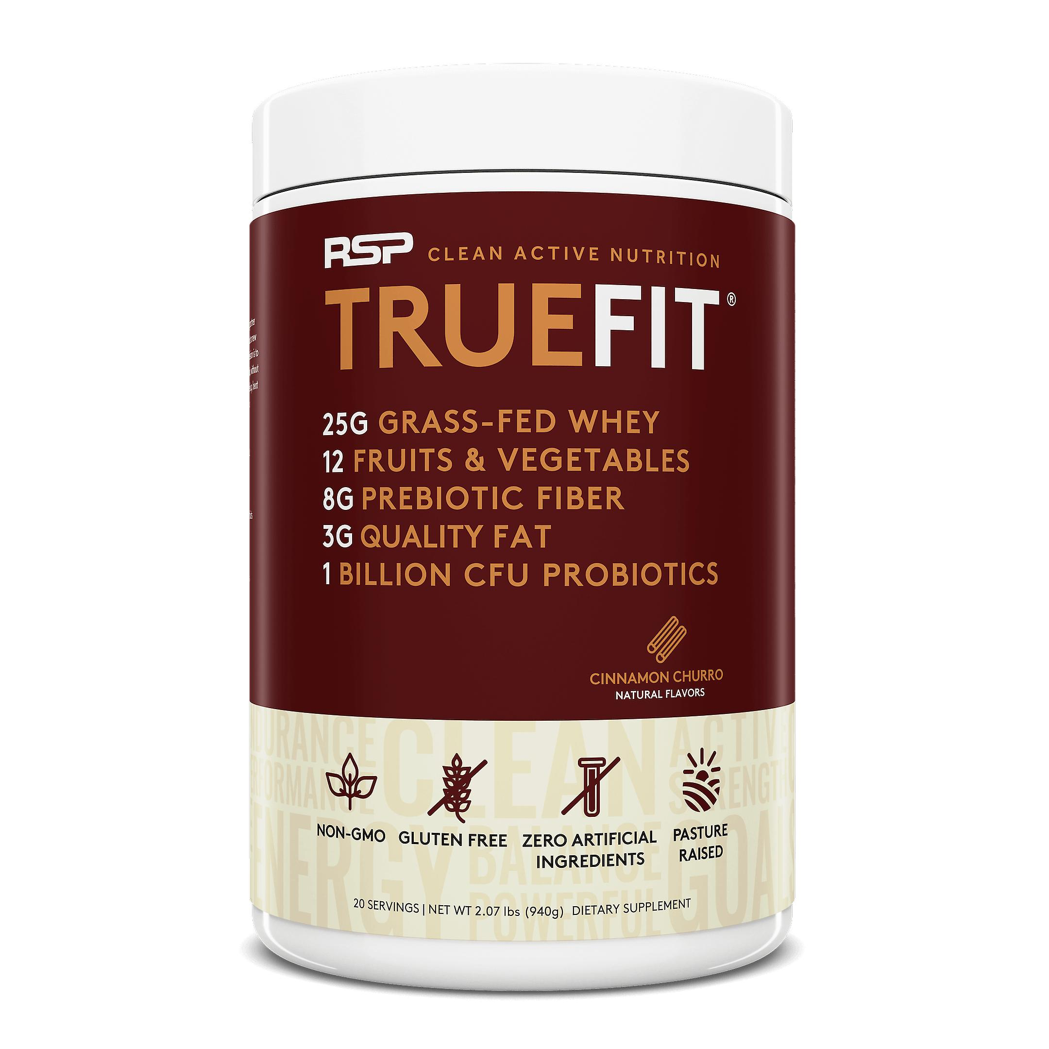 Rsp truefit protein powder, meal replacement shake, natural whey protein (cinnamon churro)