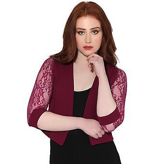 KRISP Women Ladies Lace Back 3/4 Sleeve Cropped Party Shrug Top Bolero Cardigan Jacket