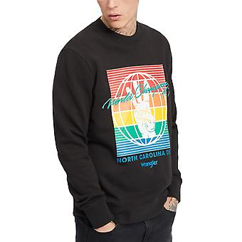 Wrangler hombres Globo Crew Cuello Pullover Casual Sweatshirt Jumper - Descolorido Negro
