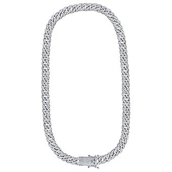 925 Sterling Silver Mens CZ Cubic Zirconia Simulated Diamond Miami Curb Chain 9mm 18 Inch Jewelry Gifts for Men