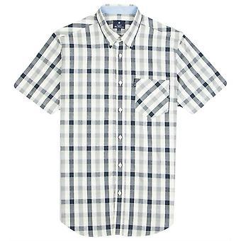 Ben Sherman Checked Short Sleeve Shirt - Navy/White