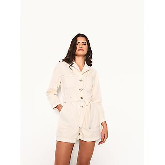 Ecru denim playsuit