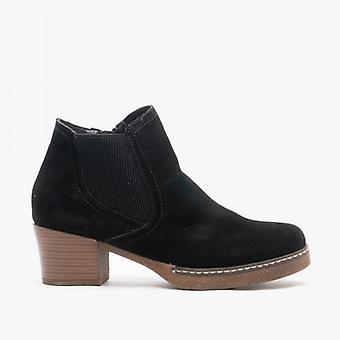 Cipriata Monalisa Ladies Suede Zip Up Side Gusset Ankle Boots Black