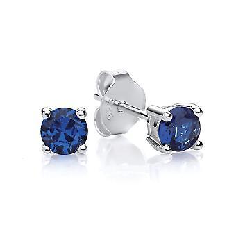 David Deyong Sterling Silver luotu sininen Sapphire Stud korvakorut syyskuu Birthstone