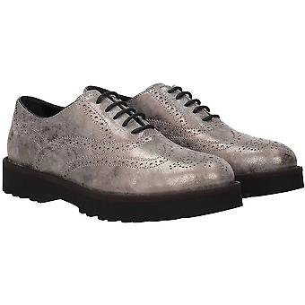 Hogan Women's fashion lace-ups oxfords shoes in gray laminated calf leather