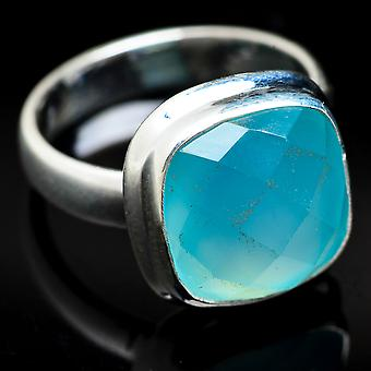 Aqua Chalcedony Ring Size 3.75 (925 Sterling Silver)  - Handmade Boho Vintage Jewelry RING3758