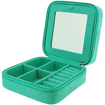 Mele Cagney Mint Suedette Jewellery Case Ideal For Travel - Zip Closure
