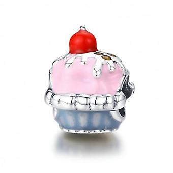 Sterling ezüst charm rózsaszín cupcake - 6022