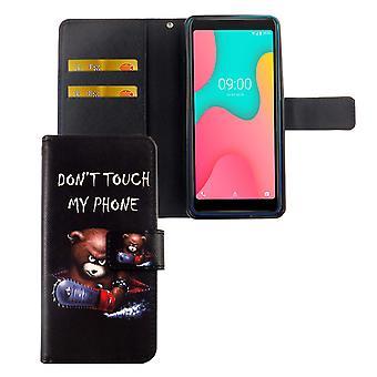Wiko Y60 Tasche Handy-Hülle Schutz-Cover Flip-Case mit Kartenfach Don't touch my phone