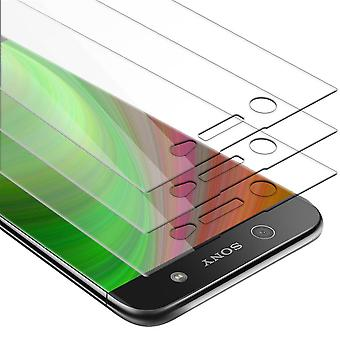 Cadorabo 3x Tank Foil for Sony Xperia XA1 ULTRA - Protective Film in CRYSTAL CLEAR - 3 Pack Tempered Display Protective Glass in 9H Hardness with 3D Touch Compatibility