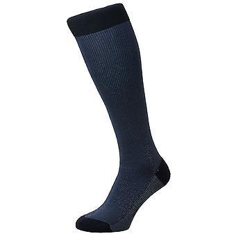 Pantherella Tewkesbury Birdseye katoen Lisle Over de kalf sokken - Navy