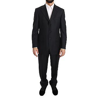 Z Zegna Dark Gray Two Piece 3 Button Wool Striped Suit KOS1351-48