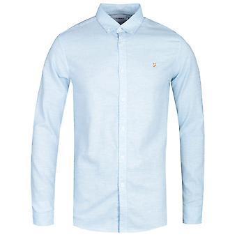 Farah Kreo Long Sleeve Textured Slim Fit Moonstone Blue Shirt