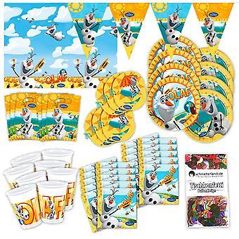 Festa de boneco de neve de OLAF conjunto XL 57-teilig para até 6 pessoas congeladas pacote de festa de decoração de festa de OLAF