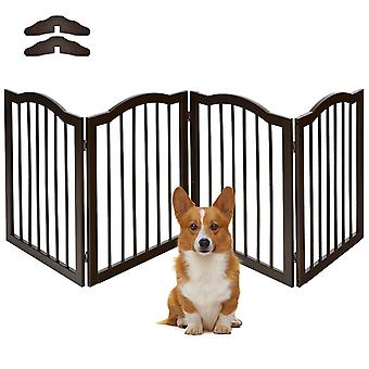 4 Panels Folding Pet Dog Gate Fence Child Safety Barrier Freestanding Pine Wood