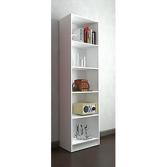 Milan Color White Bookcase in Melaminic Chip, Plastic, Iron 57x25x186 cm