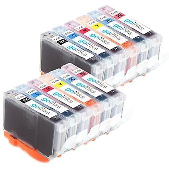 2 Conjunto de 6 cartuchos de tinta para reemplazar la Cli-8 compatible/no OEM de Canon de las tintas Go (12 tintas)