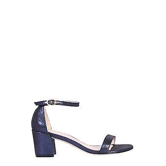 Stuart Weitzman Simplelamevelvetniceblue Women's Blue Leather Sandals