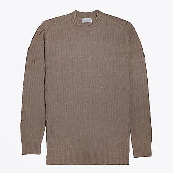 Thomas Maine  - Crew Neck Cable Knit - Beige