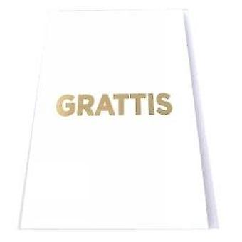 Grattiskort 4-pakkaus, jossa kirje kuoret valkoinen ja kultainen teksti 13x19 cm