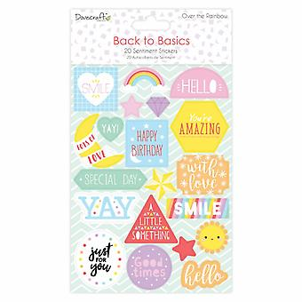 Dovecraft Back to Basics Over The Rainbow Flat Sentiment Stickers