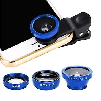 Stuff Certified® 3 in 1 Universal Camera Lens clip for Smartphones Blue - Fisheye / Wide Angle / Macro Lens