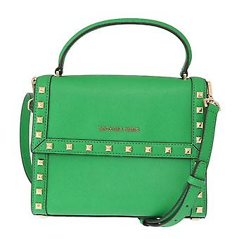 Green dillon studded leather messenger bag