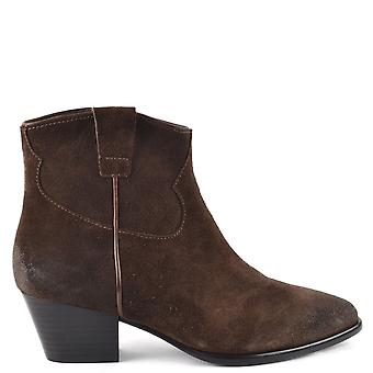 Ash Footwear Houston Suede Brushed Ankle Boots Espresso