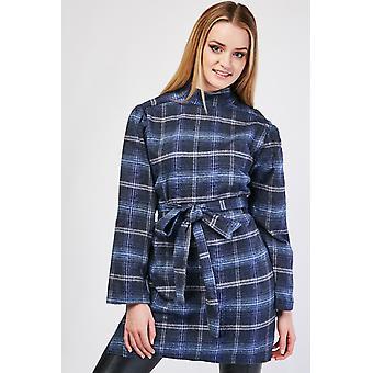 Checkered Belted Waist Shift Dress