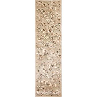 7' Ivory Machine Woven Floral Traditional Indoor Runner Rug