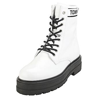 Tommy Jeans Patent Womens Flatform Boots in White Black